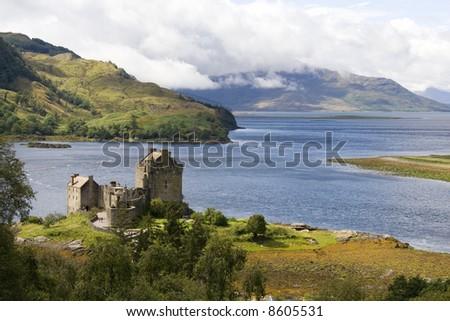 Eilean Donan castle in north east Scotland - stock photo