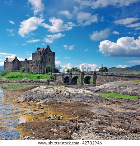 Eilean Donan Castle in Scotland, lays at the meeting point of three sea lochs (Duich, Alsh and Long) and is one of Great Britains most emblematic visitor attractions. - stock photo