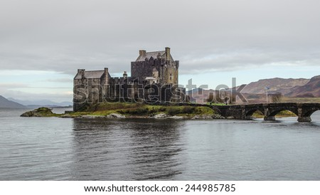 Eilean Donan Castle in the Scottish Highlands  - stock photo