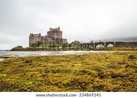 Eilean Donan Castle in the western Highlands is one of the most iconic images of Scotland, UK - stock photo