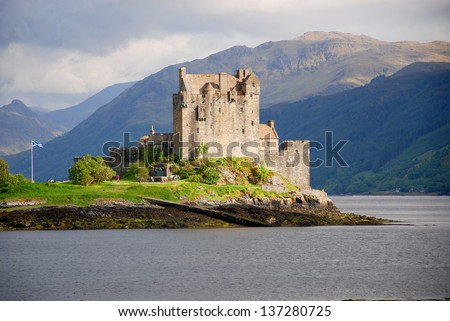 Eilean Donan Castle is a small island in Loch Duich in the western Highlands of Scotland. It is connected to the mainland by a footbridge and lies about half a mile from the village of Dornie - stock photo