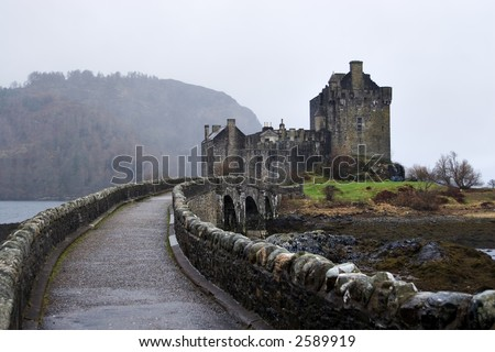 Eilean Donan Castle, Loch Duich, Scotland, on a misty day - stock photo