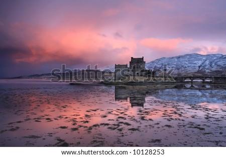 Eilean Donan Castle on a small island in Loch Duich Scotland - stock photo