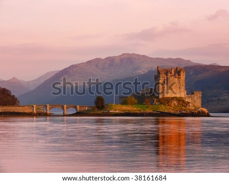 Eilean Donan castle on a sunset - stock photo