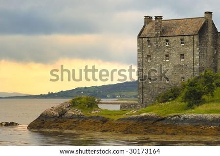 Eilean Donan Castle, overlooking Loch Alsh, Scotland - stock photo