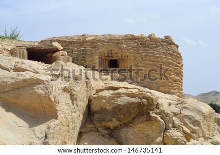 Ein Prat national park Israel abandoned fortified - stock photo