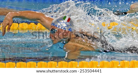 EINDHOVEN, HOLLAND-MARCH 21, 2008: italian male swimmer during the free style race of the European Swimming Championship, in Eindhoven.
