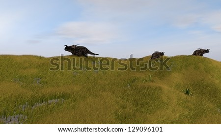 einiosaurus in grass field
