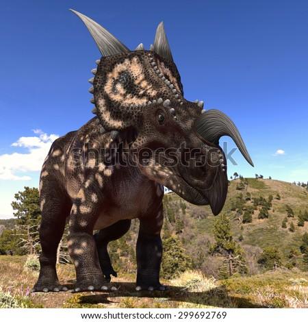 einiosaurus walking - stock photo