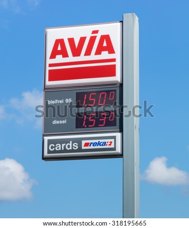 Einsiedeln, Switzerland - 7 September, 2015: AVIA sign with petrol and diesel prices at the filling station. AVIA International company is represented by more than 2900 petrol stations in 14 countries