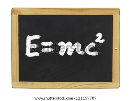 Einstein equation  written on a blackboard - stock photo