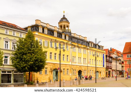 EISENACH, GERMANY - MAY 31, 2015: Architecture of the central square in Eisenach, Thuringia, Germany. Eisenach is a town and the main urban centre of western Thuringia