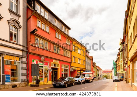 EISENACH, GERMANY - MAY 31, 2015: Street in Eisenach, Thuringia, Germany. Eisenach is a town and the main urban centre of western Thuringia
