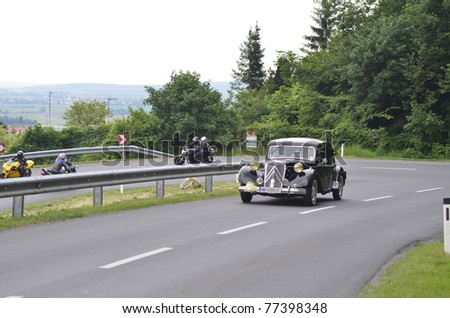 "EISENSTADT, AUSTRIA - MAY 14: Citroen 15 Six built 1948 on special stage Stotzinger Berg,  a yearly competition for vintage cars named "" 8th Oldtimer Fahrt"" on May 14, 2011 in Eisenstadt, Austria"