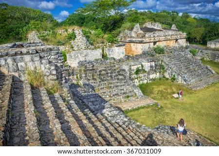 Ek Balam Mayan Archeological Site. Maya Ruins, Yucatan Peninsula, Mexico - stock photo