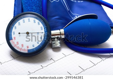 ekg blood pressure measurement heart examination - stock photo