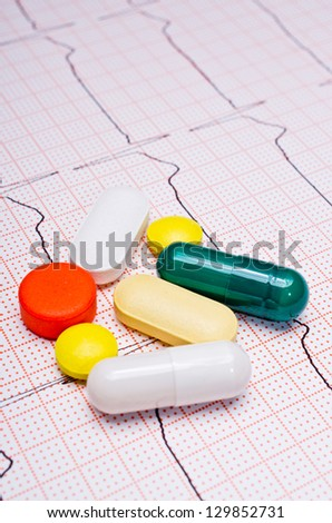 EKG chart with pills on it - stock photo