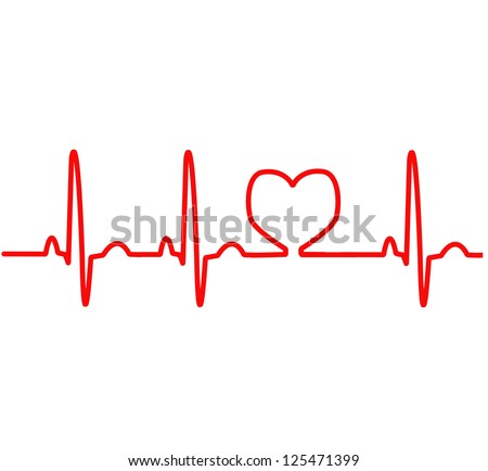 EKG red line heart monitoring