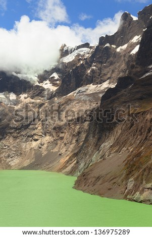 El Altar volcano in Sangay National Park, Ecuador. The green crater lake is the result of the melting glacier. - stock photo