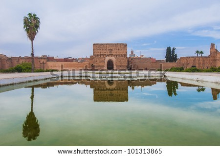 El Badi Palace Audience Pavilion at Marrakech, Morocco - stock photo