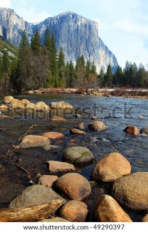 El Capitan and  merced river , Yosemite National Park.
