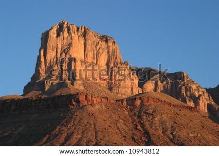 El Capitan at sunrise - Guadalupe Mountains National Park - stock photo