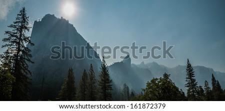 el capitan panoramic view  Yosemite - stock photo