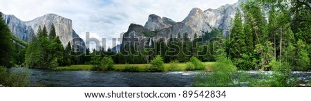 El Capitan View in Yosemite Nation Park with river in foreground - stock photo
