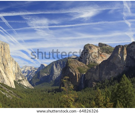 El Capitan, Yosemite Falls, and Half Dome from Tunnel View, Yosemite National Park - stock photo