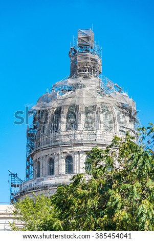 El Capitolio, or National Capitol Building being under repair, This building is one of Cuba most famous tourist landmark - stock photo
