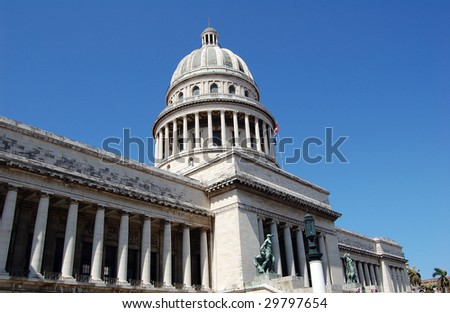 El Capitolio, was the seat of government in Cuba until after the Cuban Revolution in 1959, and is now home to the Cuban Academy of Sciences. Its design and name recall USA Capitol in Washington, D.C. - stock photo