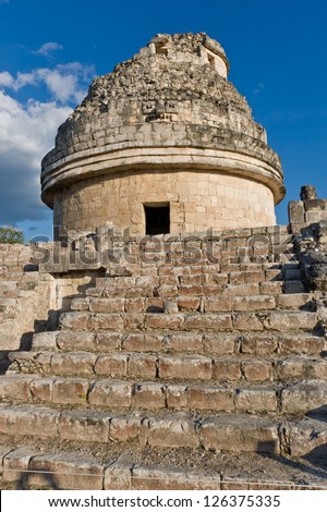 El Caracol  is ancient Maya observatory in archaeological site of  Chichen Itza, Yucatan, Mexico - stock photo