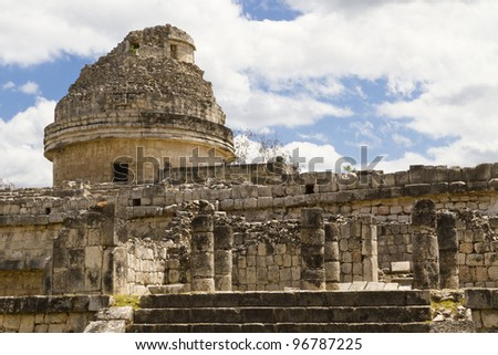 El Caracol: the observatory at the Maya archaeological site of Chichen Itza, Mexico (Yucatan). - stock photo