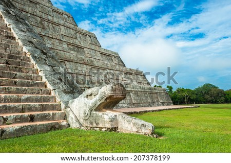 El Castillo or Temple of Kukulkan pyramid, Chichen Itza, Yucatan, Mexico - stock photo