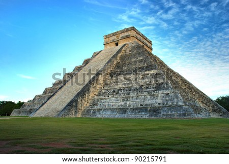 El Castillo (Pyramid of Kukulcan) in Chichen Itza, Quintana Roo, Mexico. Mayan ruins  near Cancun considered one of the seven wonders of the world. - stock photo