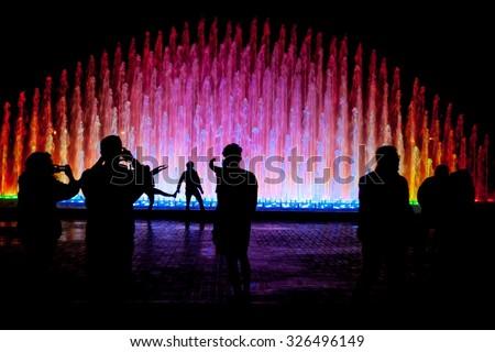 El Circuito Magico del Agua - park with a series of different fountains in Lima, Peru. - stock photo