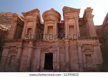El Deir, the Monastery against clear blue sky. Petra. Jordan. Middle East - stock photo