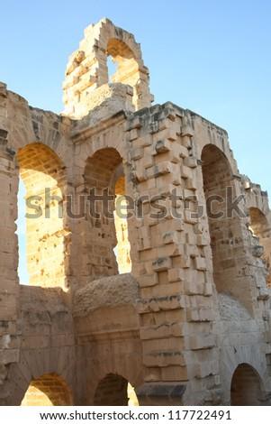 El Djem, Amphitheatre arches. Arches of roman biggest amphitheater in africa in El Djam, Tunisia - stock photo