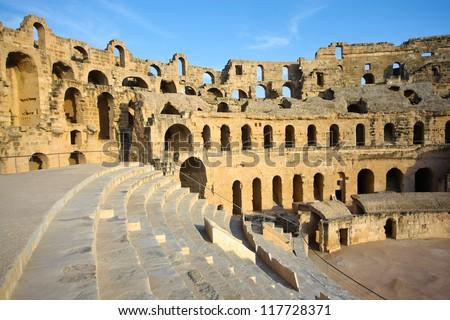 El Djem, Amphitheatre, auditorium. Arches and auditorium of roman biggest amphitheater in africa in El Djam, Tunisia - stock photo