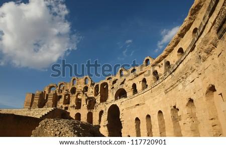 El Djem roman amphitheatre. Roman biggest amphitheater in africa in El Djam, Tunisia - stock photo