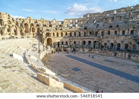 El Djem, Tunisia - December 25,2016: The Roman amphitheater of Thysdrus in El Djem (or El-Jem), a town in Mahdia governorate of Tunisia.The ancient structure has been a World Heritage Site since 1979.