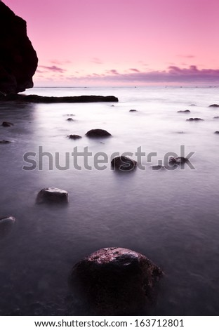 El Golfo beach in a cloudy sunset in Lanzarote, Canary islands,  - stock photo