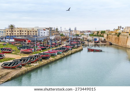 EL JADIDA, MOROCCO, APRIL 5, 2015: the old port in a historic city on the Atlantic coast of Morocco, in the province of El Jadida.  - stock photo
