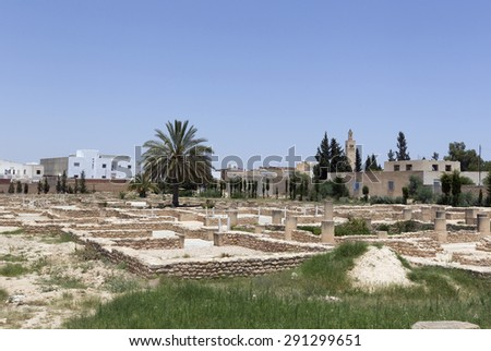 EL JEM, TUNISIA - JUNE 24: The archeological museum as on June 24, 2011 in El Jem, Tunisia. It is home to some of the most impressive Roman remains in Africa. - stock photo
