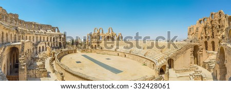 EL JEM, TUNISIA - SEPTEMBER 1, 2015: The large arena of El Jem is the perfect example of the ancient roman architecture, on September 1 in El Jem, Tunisia.
