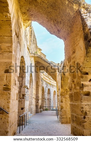 EL JEM, TUNISIA - SEPTEMBER 1, 2015: The multi-storied roman arena has many passages on each floor, on September 1, in El Jem. - stock photo
