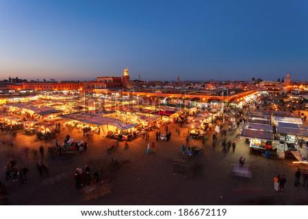 El Jemaa el fna sqare, Marrakesh - stock photo