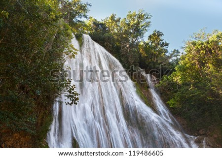 el limon waterfall, Samana peninsula, Dominican republic - stock photo