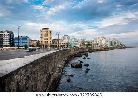 El Malecon famous sea front promenade in Havana, Cuba at sunrise - stock photo