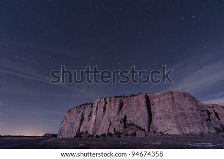 El Malpais Mesa with Big Dipper - stock photo
